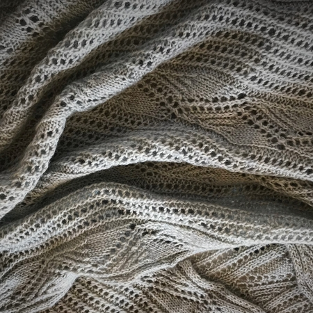 Lace knitting of Tanilba Bay Wrap