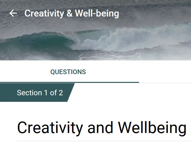 Image of a small section of an online survey page with a questionnaire about creativity