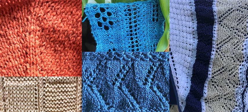 Comoposite image with a variety of knitted swatches.