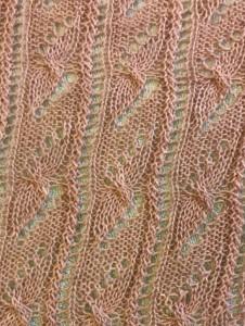 Close up of knitting stitches