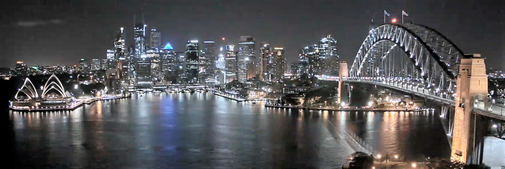View of Sydney Harbour at night.