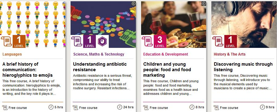 Selection of courses from Open Learn.