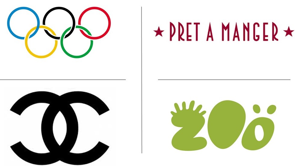 Logos for the olympics, pret, chanel and san diego zoo.