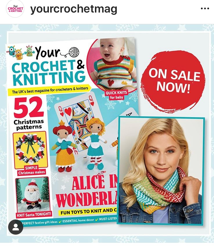Cover of Your crochet knitting magazine with feature showing curiouser cowl.