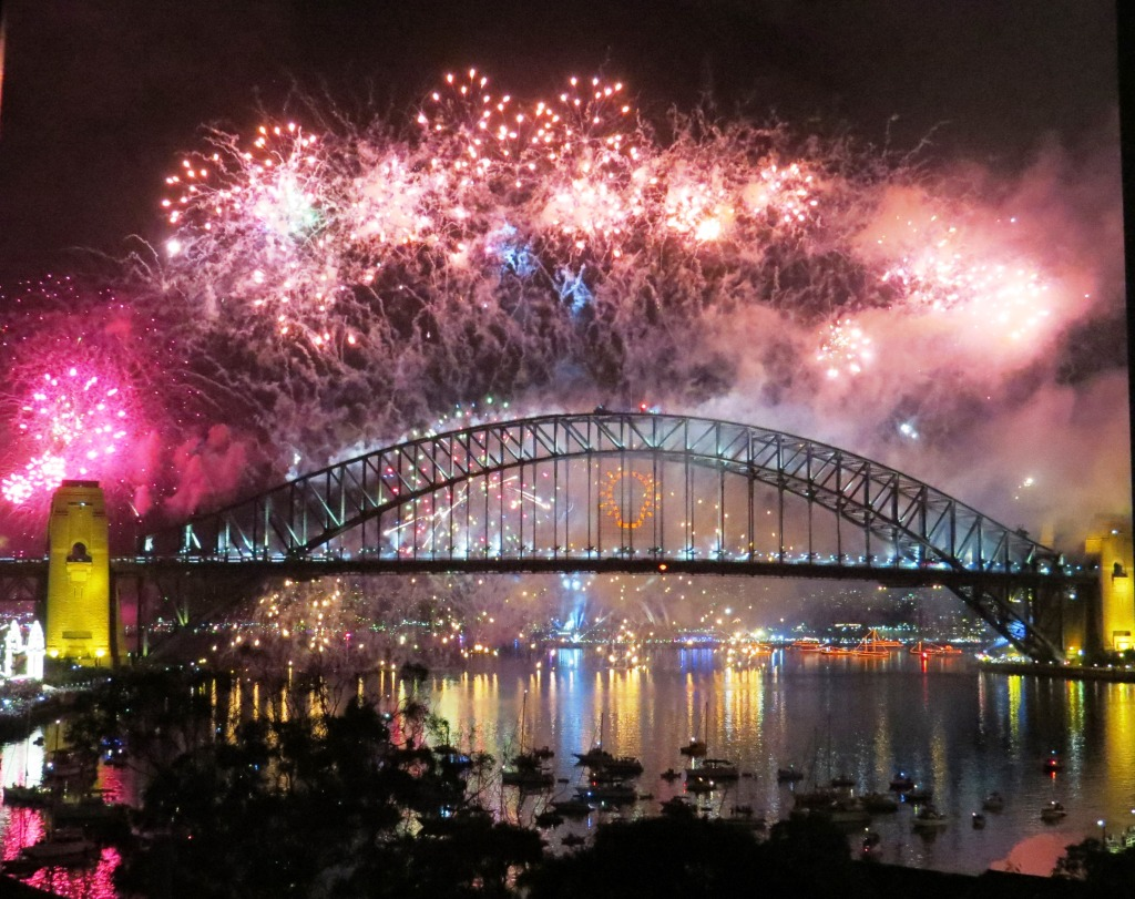 Sydney Harbour Bridge New Year's Eve fireworks.