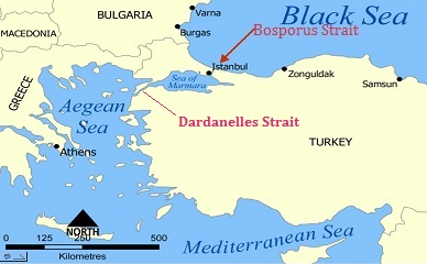Map showing the location of Troy on the Dardanelles.