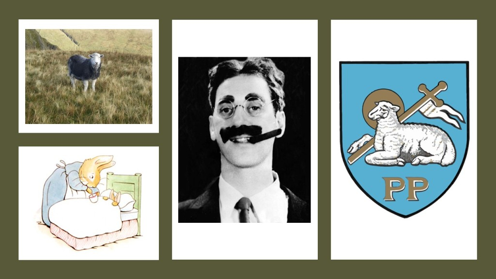 Herwick sheep, Groucho Marx, Preston coat of arms and Peter Rabbit