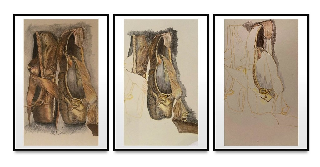 three stages of production of a drawing of ballet shoes.