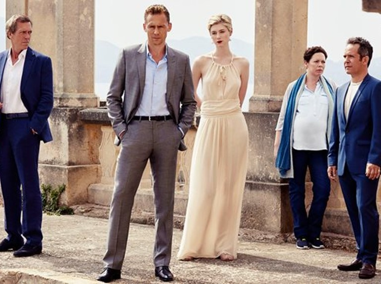 Main characters in The Night Manager, from left to right, Hugh Laurie, Tom Hiddleston, Elizabeth Debicki, Olivia Colemand and Tom Hollander.