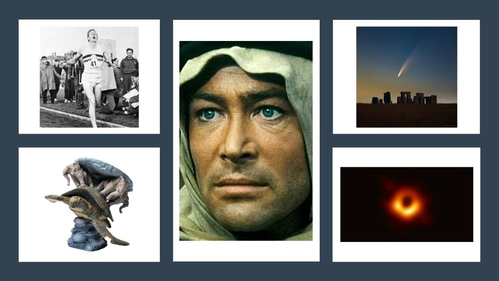 Some clues to quiz questions, Roger Bannister, Peter O'Toole, Comet Neowise, Black Hole and Discworld