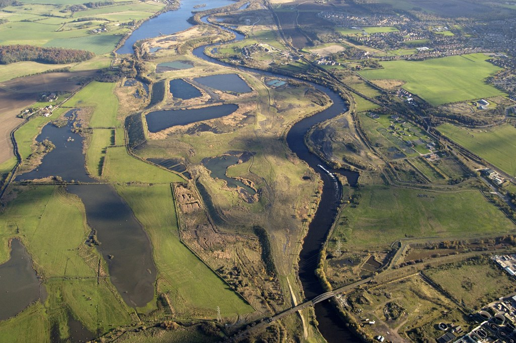 Aerial view of Fairburn Ings reserve.