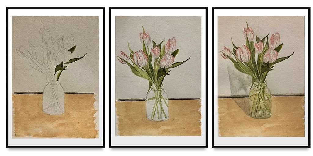 three images showing the progress of a painting of a glass jar of tulips.