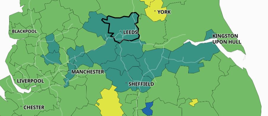 colour coded map of the North of England showing high levels of covid cases across West Yorkshire and Manchester.