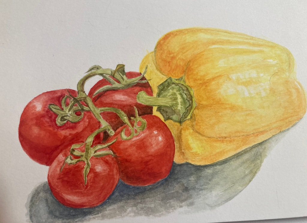 Painting of a yellow pepper with 4 ripe vine tomatoes.