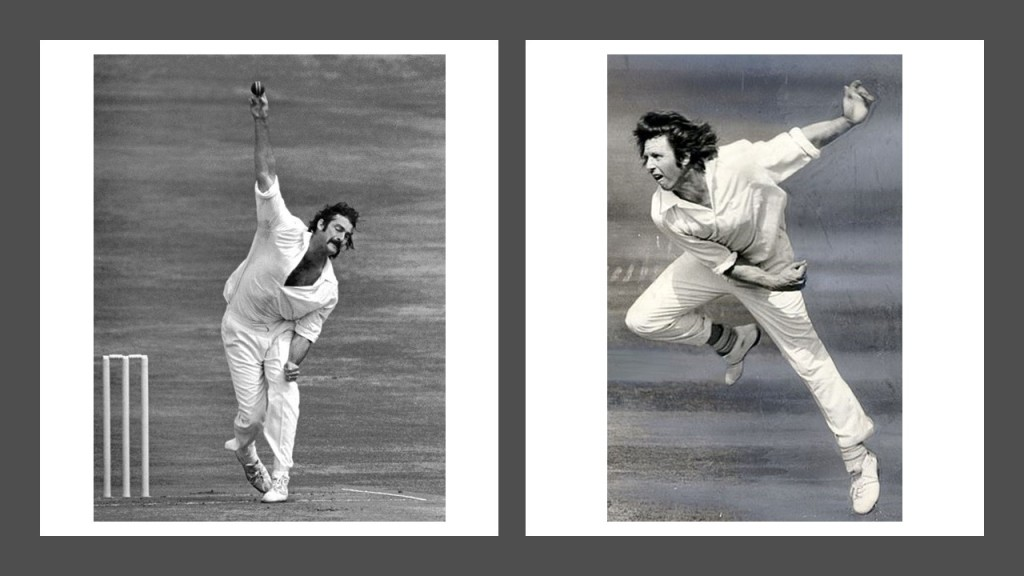 Dennis Lille and Jeff Thomson in bowling action.