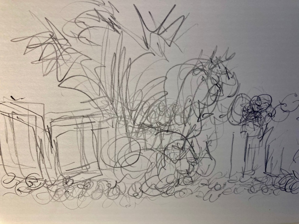 Sketch from a Royal Academy session on still life - drawn with 4 pencils.