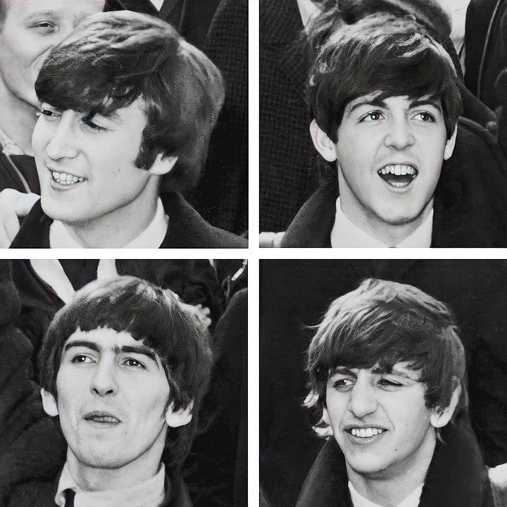 All four Beatles, John, Paul, George and Ringo.