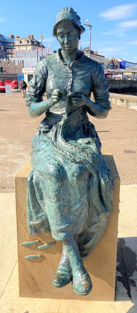 Gansey girl sculpture on Bridlington Harbour.