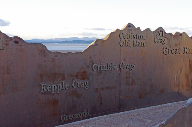Guide to outline of south lakeland fells on the front in Morecambe