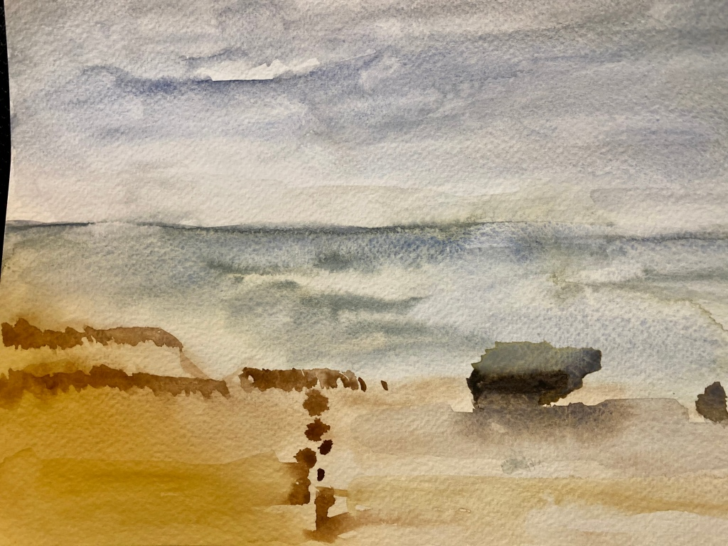 Very loose water colour painting of the beach at Kilnsea.